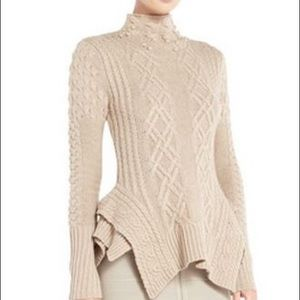 BCBG Camel Maylin Sweater. Sz. L. Amazing Design!